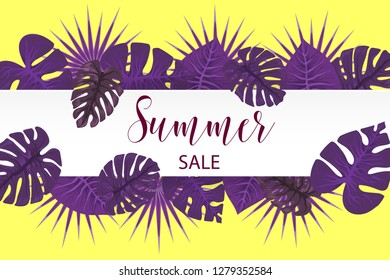 Summer sale poster. Tropical background palm leaf. Exotic summer green jungle tree. Hawaii plant pattern decoration design. Botanical tropic fashion element. Colorful travel banner.