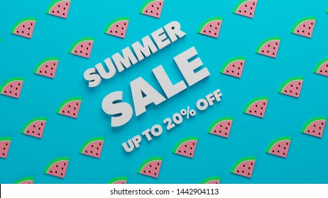 Summer Sale watermelon blue background poster 20 percent off 3d render