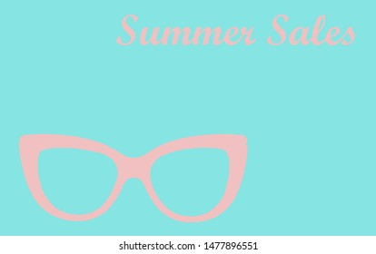 Summer sales a pair of sunglasses and a hat on an illustration