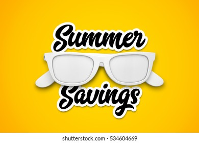Summer savings with white sunglasses on a bright yellow background. 3d rendering