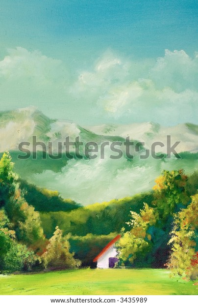 Summer scene of landscapes, this is oil painting and I am author of this image
