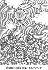 Summer sea and sky with clouds and sun. Hand drawn line art for coloring page or book for adults and children. Doodle and zentangle illustration.