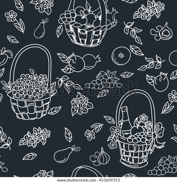 Summer seamless pattern background. Colorful baskets with fruit, flowers and gifts. Harvest seamless pattern.