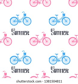 summer seamless pattern. Bicycles and hand lettering summer