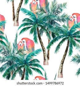 Summer seamless pattern with watercolor parrot, palm trees. Hand drawn illustration