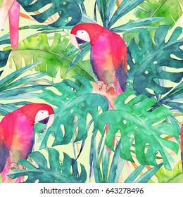 Summer seamless pattern with watercolor parrot, palm leaves. Colorful illustration