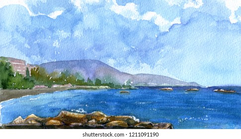 Summer seashore with stones and water. Buildings, mountain and trees on horizon. Sunny day and sky with clouds. Hand drawn watercolor illustration