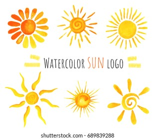Summer set of warm watercolor hand drawn sun icons. Isolated on white background.