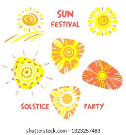 Summer solstice.  Concept logo, sign, badge with abstract summer sun. Template design for greeting gift card, banner, invitation, poster, flyer for solstice party.