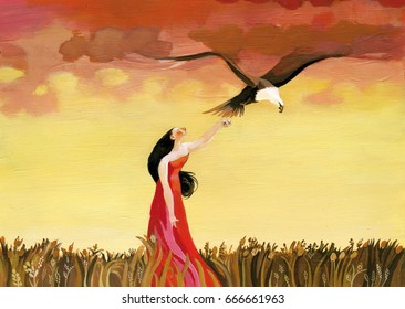 Summer spiritual atmosphere, a woman dressed in red makes flying an eagle that turns into the clouds of a golden dawn