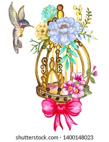 Summer and Spring Romantic sweet bouquet blossom watercolor Birdcage with peony rose leaves foliage flowers garden Watercolor wedding object isolated on white background