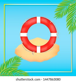 summer sticker with life preserver