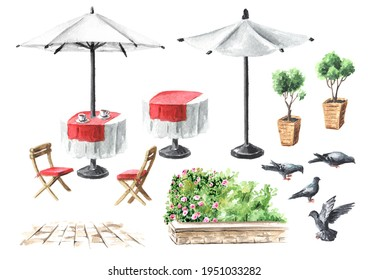 Summer street cafe elements. Table, umbrelle and chairs set. Watercolor hand drawn illustration, isolated on white background