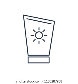 Summer sunblock icon. Isolated suntan and summer sunblock icon line style. Premium quality  symbol drawing concept for your logo web mobile app UI design.