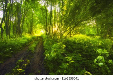 Summer sunny landscape in the forest in oil paints. Digital structure of painting