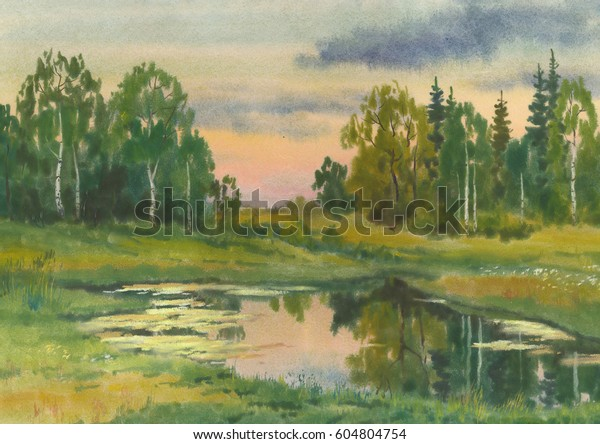 Summer sunset on the forest lake