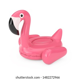 Summer Swimming Pool Inflantable Rubber Pink Flamingo Toy on a white background. 3d Rendering