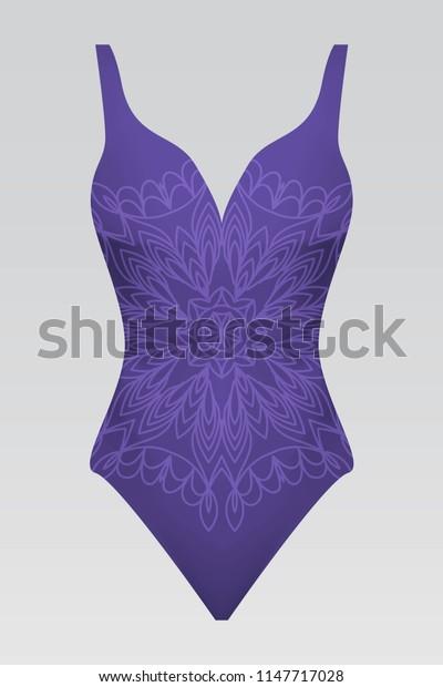 summer swimsuit with modern design purple color mandala ornament. fashion   for design summer cloth.