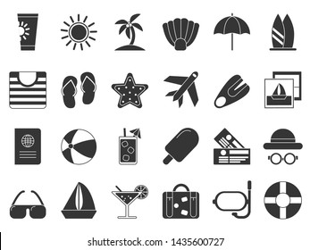 Summer time black symbols. icon set isolate. Travel and vacation, sun and beach, suitcase and plane black silhouette illustration
