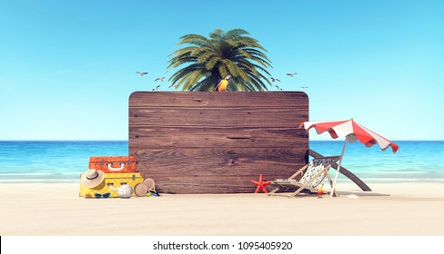 Summer time holiday background 3D Rendering, 3D Illustration