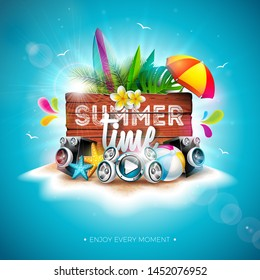 Summer Time Holiday Illustration with Typography Letter and Vintage Wood Board on Blue Background. Tropical Plants, Flower, Beach Ball, Speaker and Sunshade on Paradise Island for Banner, Flyer