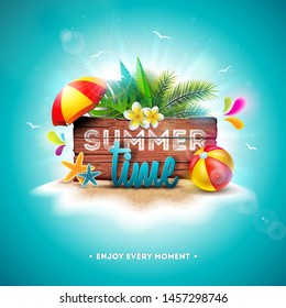 Summer Time Holiday Illustration with Typography Letter on Vintage Wood Board Background. Tropical Plants, Flower, Beach Ball and Sunshade on Paradise Island for Banner, Flyer, Invitation, Brochure