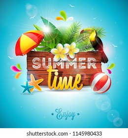 Summer Time Holiday typographic illustration with toucan bird on vintage wood background. Tropical plants, flower, beach ball and sunshade with blue sky. Design template for banner, flyer, invitation