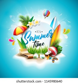 Summer Time Holiday typographic illustration on blue cloudy sky background. Tropical plants, flower, beach ball and sunshade. Design template for banner, flyer, invitation, brochure, poster or