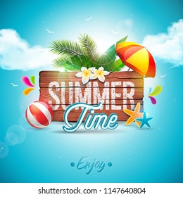 Summer Time Holiday typographic illustration on vintage wood background. Tropical plants, flower, beach ball and sunshade with blue cloudy sky. Design template for banner, flyer, invitation, brochure