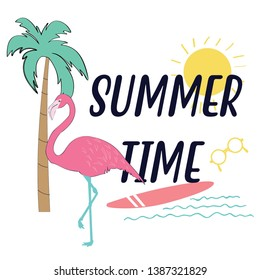 Summer time slogan t shirt print design.Sweet baby tee.