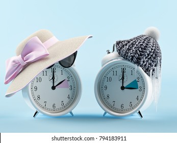 summer time and winter time clock. changing time. 3d rendering