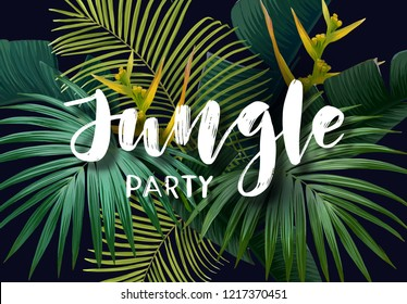 Summer tropical poster with sabal and banana palm leaves, exotic strelitzia flowers and handdrawn integrated inscription. illustration.