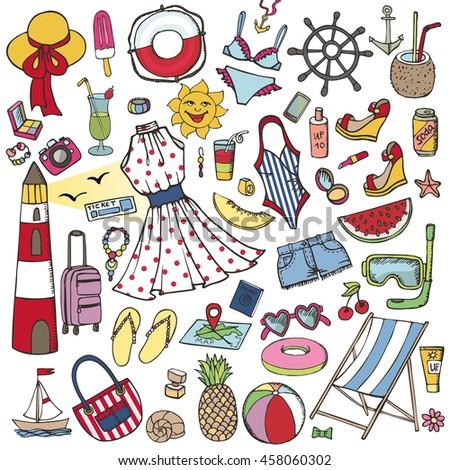 Summer Vacation Doodles Hand Drawing Fashion Woman Stock ...