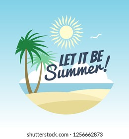 Summer vacation logo design - rest background with palms and summer sign