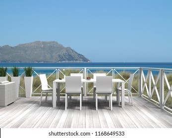 Summer vacations on a terrace in the dunes with a view to the sea and an island - 3d rendering