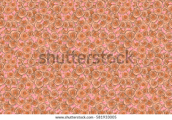 Summer Vintage Floral Greeting Card with Blooming orange Rose flowers. Botanical natural seamless pattern, watercolor style in orange colors.