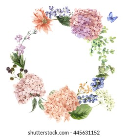 Summer Vintage Floral Greeting Wreath with Blooming Hydrangea and garden flowers, botanical natural hydrangea Illustration on white