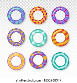 Summer, water and beach theme, safe icons. Summer vacation or trip safety. Colorful swim rings set. Realistic rubber swimming 3d rings isolated on transparent background.