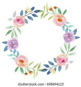 Summer Watercolor Floral Wreath Garland