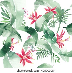 Summer watercolor seamless pattern with tropical plants