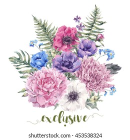 Summer watercolor vintage floral greeting card with blooming anemones, peony, chrysanthemum, ferns, wild and garden flowers, botanical natural anemone Illustration on white