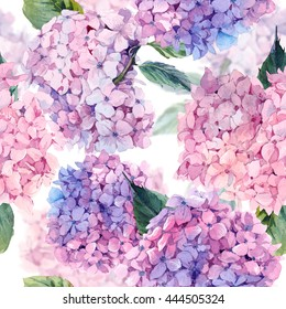 Summer watercolor Vintage Floral seamless pattern with Blooming Hydrangea, botanical natural hydrangea Illustration