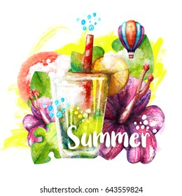 Summer watercolour poster. Bright elements of Summer: cocktail, flowers, green leafs, watercolour drops, air balloon. Hand drawn watercolour illustration.