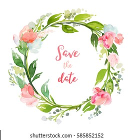 Summer wreath with flowers and text space isolated on white background. Wedding card, invitation, logo template. Hand drawn watercolor illustration..