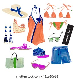 Summer-1. Set of hand drawn watercolor & acrylic illustrations of summer shoes & clothing on white background. Super size. Vintage scetch