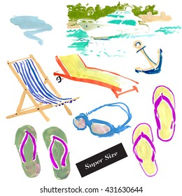 Summer-3. Set of hand drawn watercolor & acrylic illustrations of summer elements on white background: beach chairs & diving equipments. Sea yacht. Super size. Vintage scetch