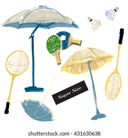 Summer-4. Set of hand drawn watercolor & acrylic illustrations of summer elements on white background: beach games, sport & beach equipment. Super size. Vintage scetch