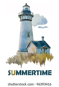 Summer's lighthouse watercolor