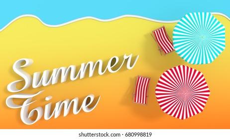 Summertime beach scene with umbrellas 3d rendering