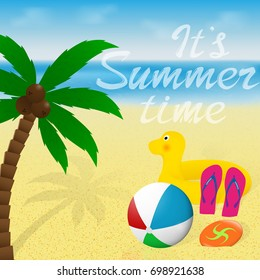 Summertime Greeting Card With Lettering Summer Vacation Banner Design Palm Tree Beachball